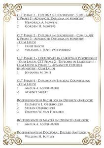 Roepersfontein Seminarium 2018 Graduates